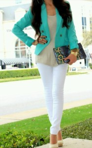 white jeans with color