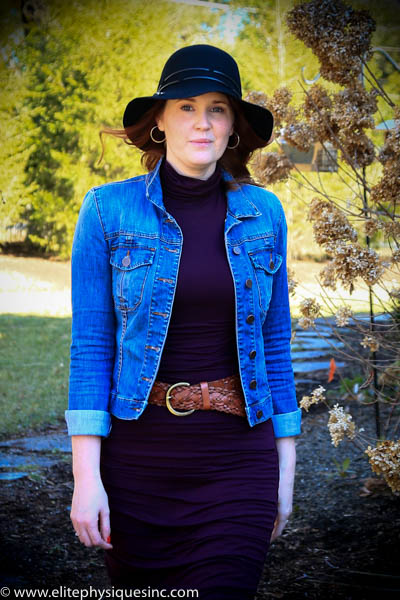 Jean jacket, hat, with dress and belt