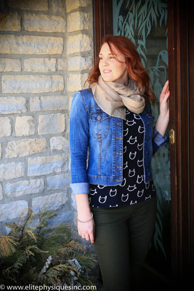 Jean jacket cat shirt and scarf